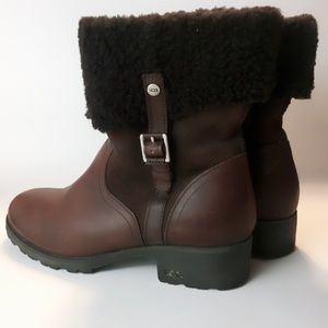 UGG Chyler Brown Leather Cuffed Ankle Boot